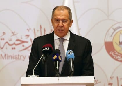 Sergei Lavrov in press meeting