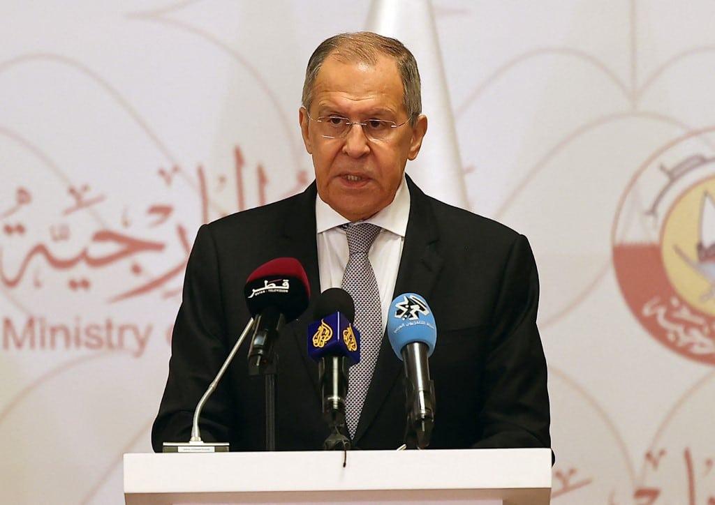 Sergei Lavrov in press meeting
