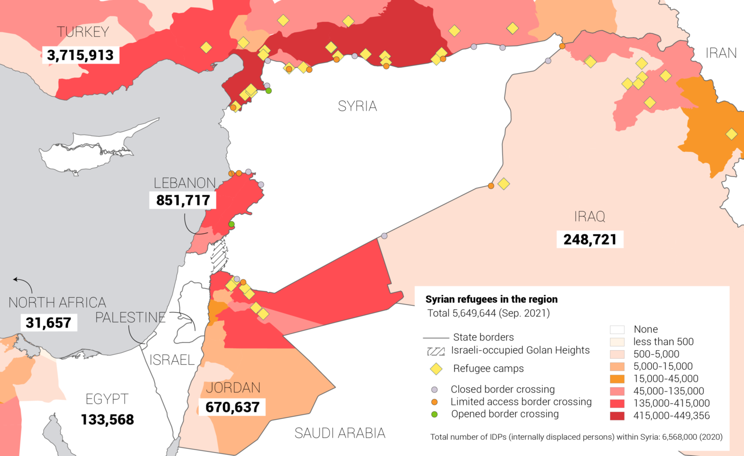 Syrian refugees distribution in the region map 2021