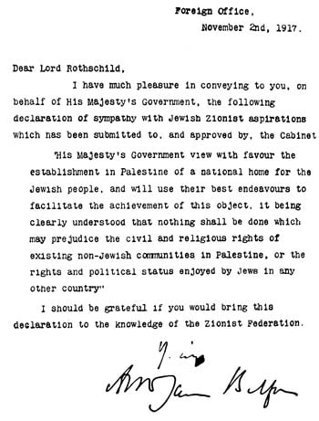 Arthur James Balfour's original letter to Lord Rothschild