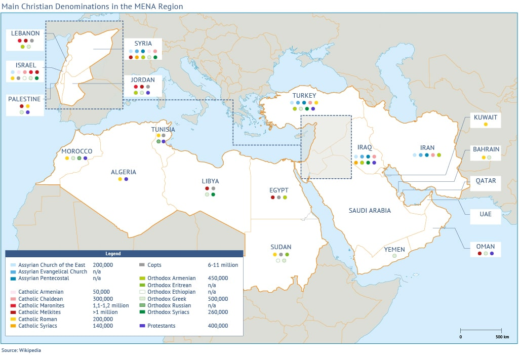 Christians in the Middle East map