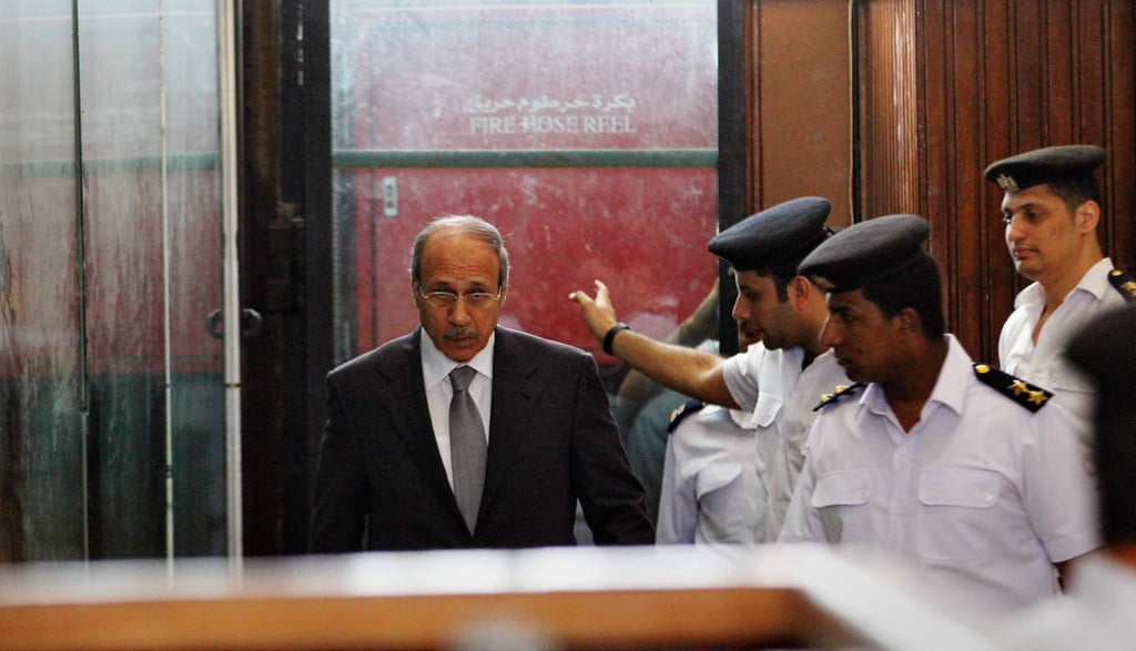 egypt-economy- Habib al-Adly attends his trial on charges of corruption