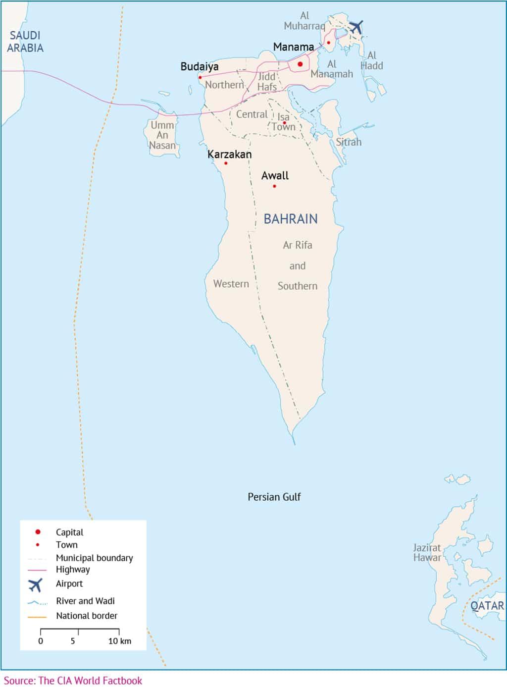 Bahrain Map 1024