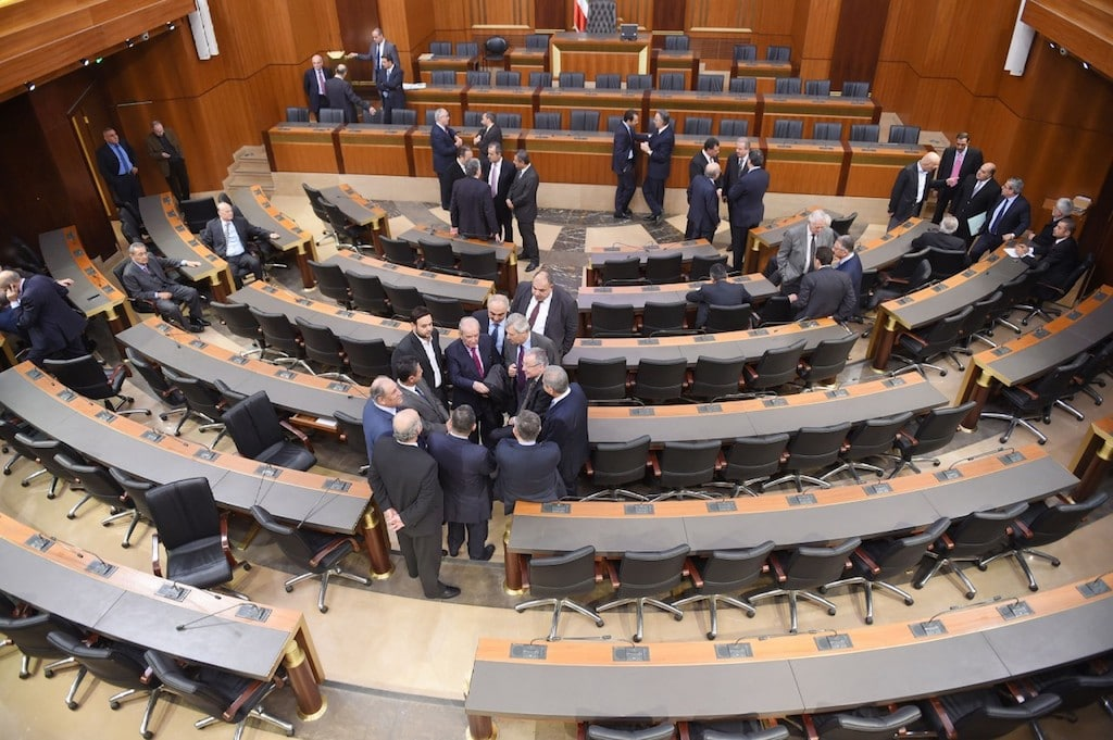 Lebanese Parliament members attend a ballot