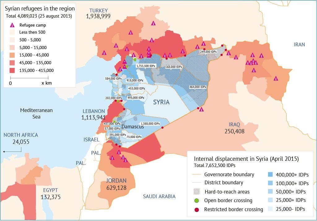 النازحون داخل سوريا واللاجئون السوريون في الدول المجاورة