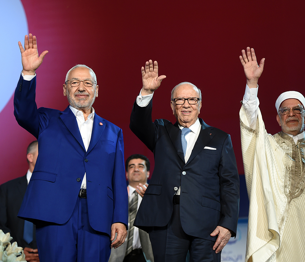 President of Tunisia, Beji Caid Essebsi and president of the Ennahda Movement, Rached Gannouchi during the opening ceremony of the 10th Congress
