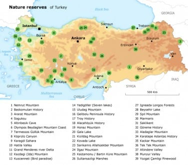 biodiversity and natural environment turkey nature reserves map 720