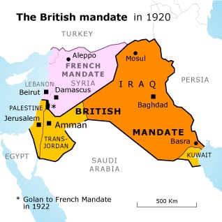 creation of transjordan Jordan british mandatemap 03