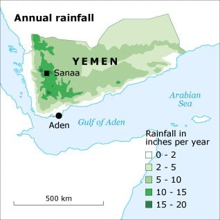 geography and climate Yemen anualrain map 02