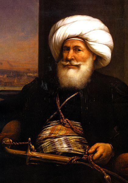 محمد علي (1769-1849)، من مواليد ألبانيا، الوالي العثماني على مصر، يعتبر مؤسس مصر الحديثة