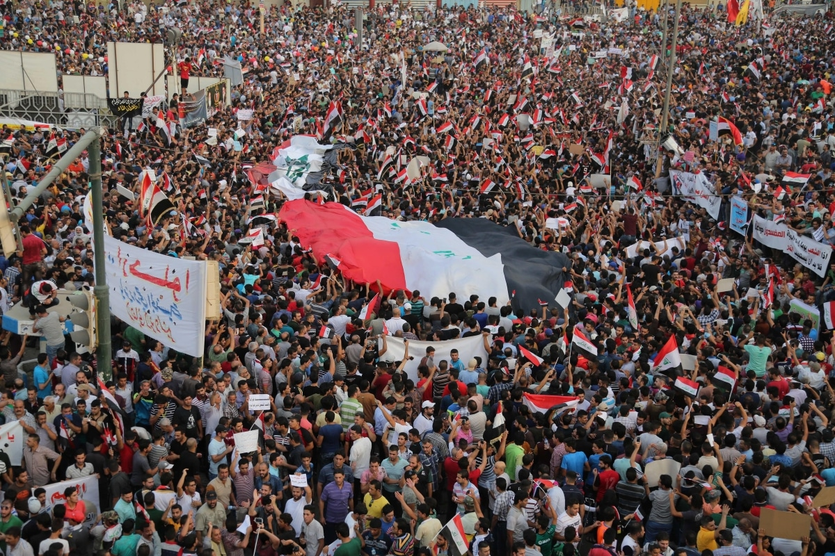 Protesters gather to demonstrate against government's corruption in Iraq