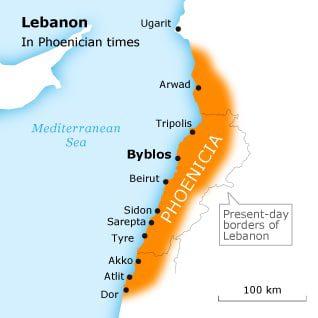 phoenicians or canaanites lebanon phoenician map 001