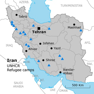 refugees and internally displaced persons Iran unhcr camps map 318