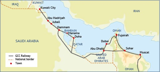 GCC Railway (planned) / Click to enlarge / Source Fanack