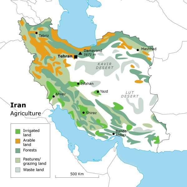 geography iran - Iran agriculture map