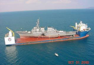 Bombed USS Cole being transported