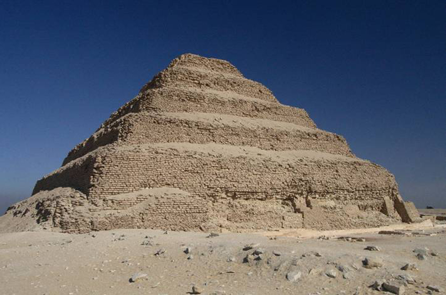 The first Step Pyramid at Saqqara from the 27th century BCE