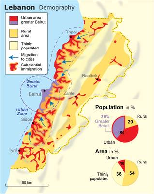 Demographic map of Lebanon