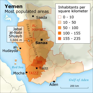 Population Yemen - Most Populated Areas