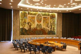 The Security Council Chamber at the United Nations headquarters in New York