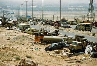The Kuwait-Iraqi highway after the Gulf War, Photo HH
