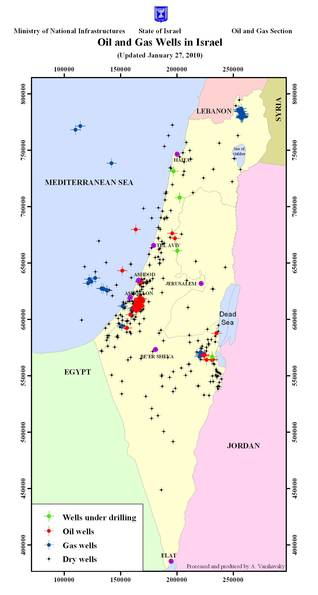 Oil and Gas wells in Israel Source: Ministry of National Infrastructures, www.mni.gov.il