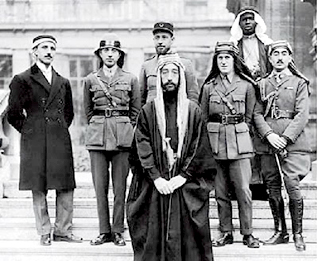 Emir Faysal at the Peace Conference in Paris in 1919 (with T.E. Lawrence to his right)