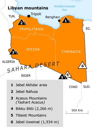 Libya Geography - regions map