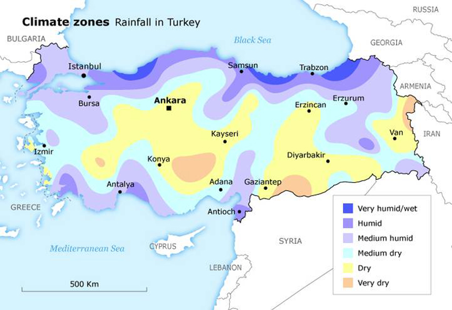 Geography Turkey - Climate Map