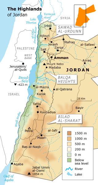Geography Jordan - The Highlands
