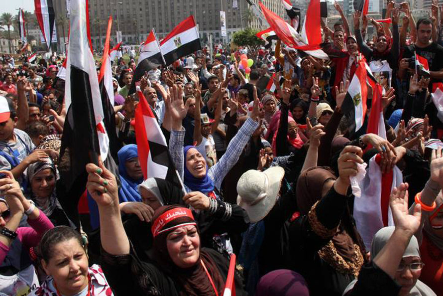Supporters of president Al-Sisi at Tahrir Square in downtown Cairo in june 2014. Photo HH.