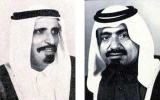 Sheikh Ahmad bin Ali bin Abdullah Al Thani (l) and his successor Khalifa bin Hamad Al Thani