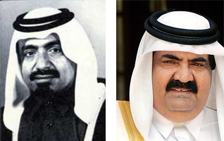In 1995, Khalifa bin Hamad Al Thani (l) was deposed by his son, Hamad bin Khalifa