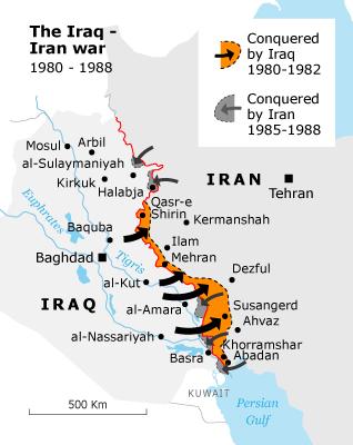 Map of the Region of the Iran-Iraq War