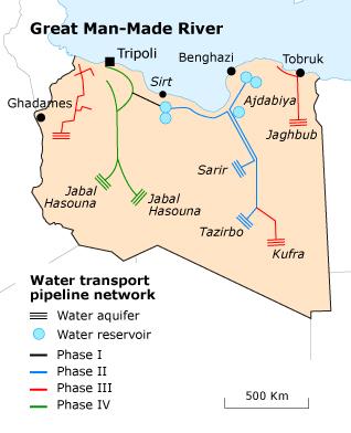 Libya Geography - water map
