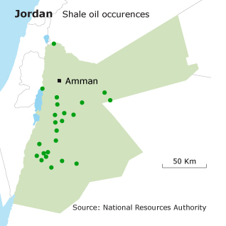 Geography Jordan - Shale oil occurences