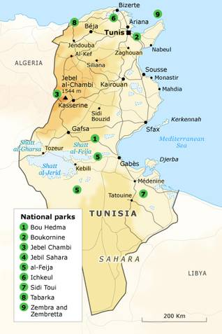 Geography Tunisia - nature reserves map