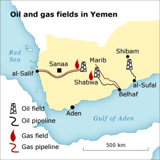 Economy Yemen - Oil Gas Map