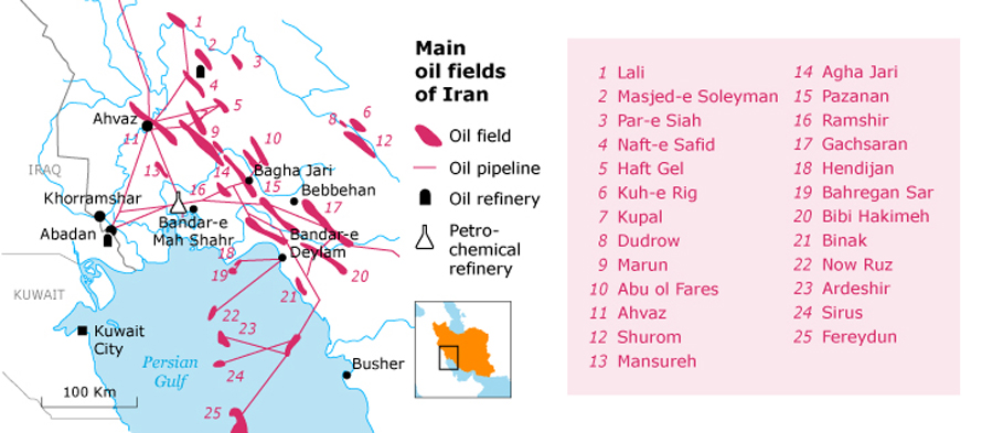 geography iran - oil and gas maps