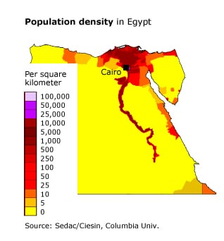 Population Egypt - Population density in Egypt