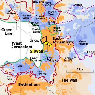 Map of East Jerusalem and the Silwan neighbourhood Israeli settlements