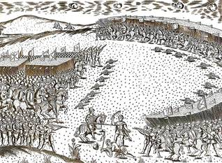 Engraving of the battle at Ksar al-Kebir (al-Qasr al-Kebir), known as the Battle of the Three Kings