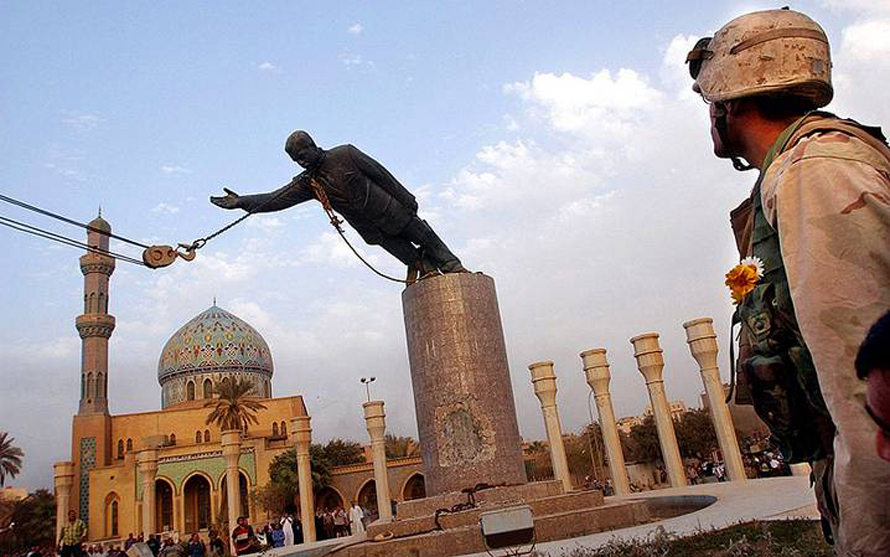 Statue of Saddam Hussein torn down after the Coalition Forces' invasion of Baghdad in 2003, Photo HH