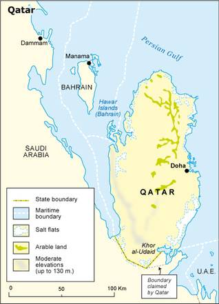 Geography Qatar - State Borders