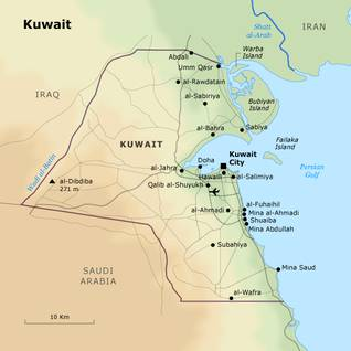 geography kuwait - state borders