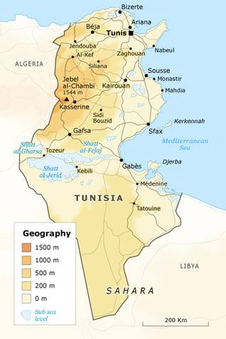 Geography Tunisia - state borders