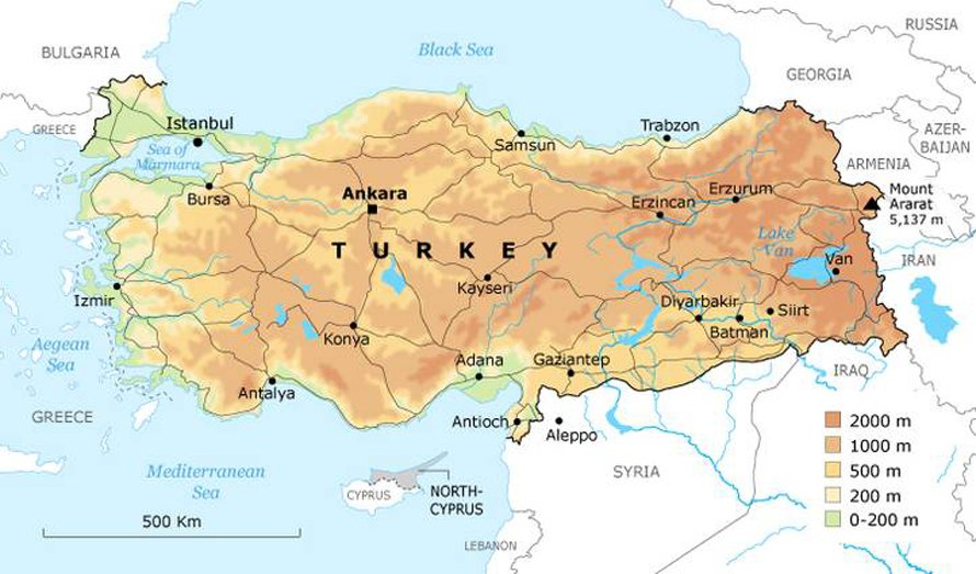 Geography Turkey - Borders Map