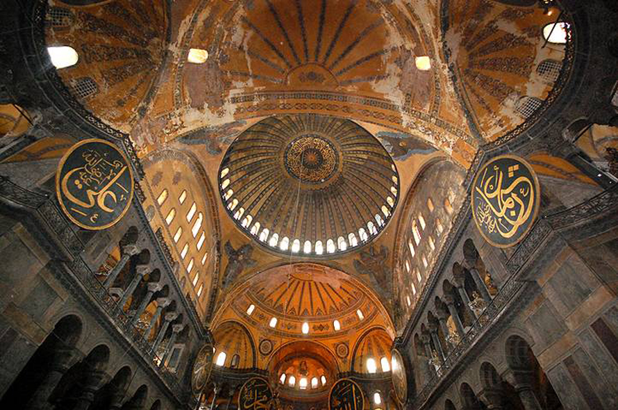 Interior of the Hagia or Aya Sophia in Istanbul, originally built between 532 and 537 CE by the Byzantine Emperor Justinian; converted into a mosque in 1453 when Constantinople was conquered by Sultan Mehmed 'The Conquerer'