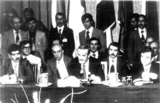 Syrian President Hafiz al-Assad speaks at the 1978 summit in Baghdad, where the Egyptian membership of the Arab League was suspended