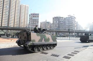 Armoured personnel carrier, M-113 of the Lebanese Army during small-scale protests in various areas around Lebanon on 25 January 2011, Beirut, after consultations about the replacement of Prime Minister Saad Hariri by Najib Mikati Photo Polaris /HH